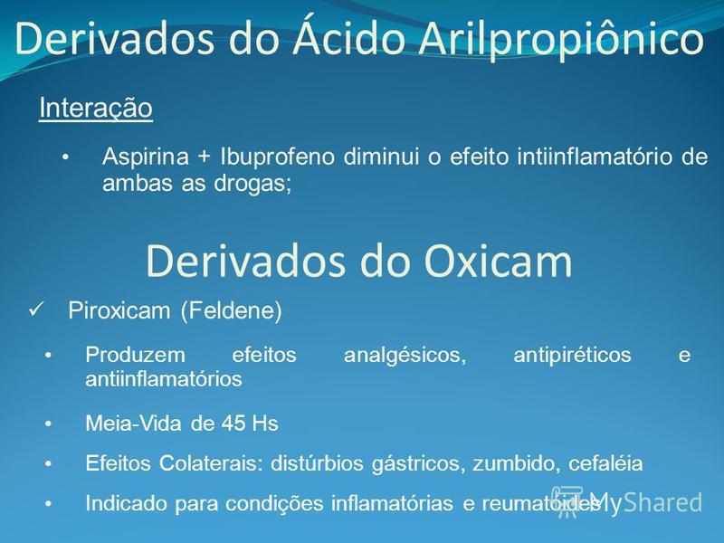 Derivados do Ácido Arilpropiônico Interação Aspirina + Ibuprofeno diminui o efeito intiinflamatório de ambas as drogas; Derivados do Oxicam Piroxicam (Feldene) Meia-Vida de 45 Hs Produzem efeitos analgésicos, antipiréticos e antiinflamatórios Efeitos