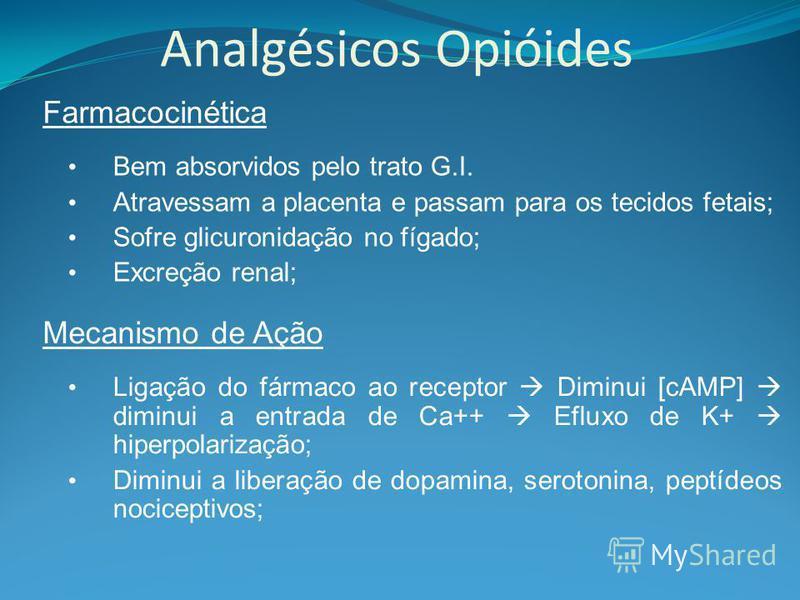 Analgésicos Opióides Farmacocinética Bem absorvidos pelo trato G.I. Atravessam a placenta e passam para os tecidos fetais; Sofre glicuronidação no fígado; Excreção renal; Mecanismo de Ação Ligação do fármaco ao receptor Diminui [cAMP] diminui a entra