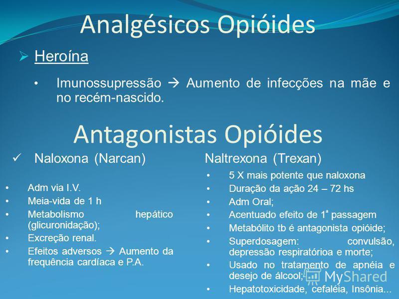 Analgésicos Opióides Heroína Imunossupressão Aumento de infecções na mãe e no recém-nascido. Antagonistas Opióides Naloxona (Narcan) Naltrexona (Trexan) Adm via I.V. Meia-vida de 1 h Metabolismo hepático (glicuronidação); Excreção renal. Efeitos adve
