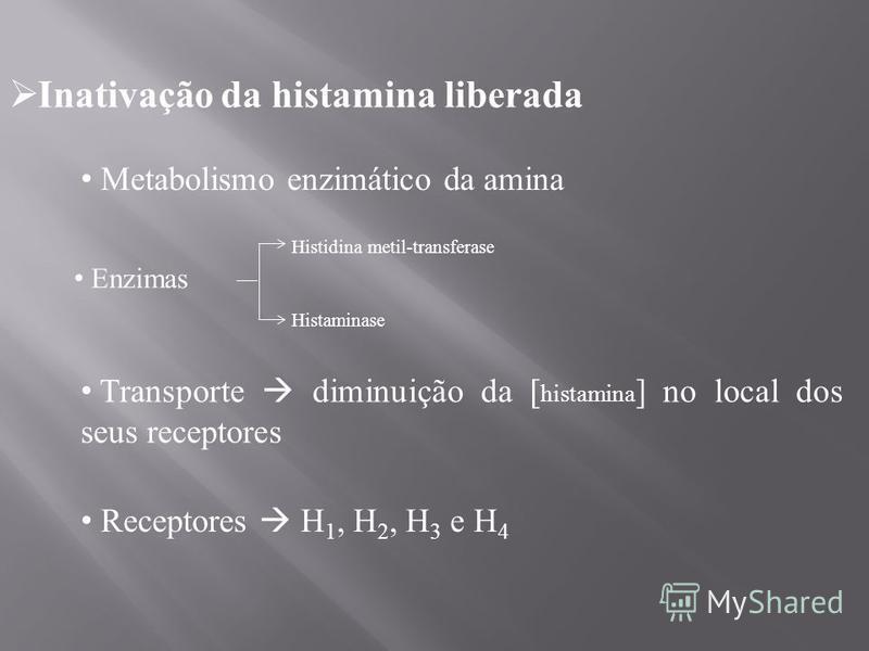 Inativação da histamina liberada Metabolismo enzimático da amina Enzimas Histidina metil-transferase Histaminase Transporte diminuição da [ histamina ] no local dos seus receptores Receptores H 1, H 2, H 3 e H 4