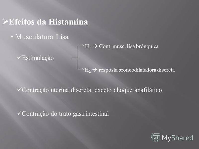 Efeitos da Histamina Musculatura Lisa Estimulação H 1 Cont. musc. lisa brônquica H 2 resposta broncodilatadora discreta Contração uterina discreta, exceto choque anafilático Contração do trato gastrintestinal