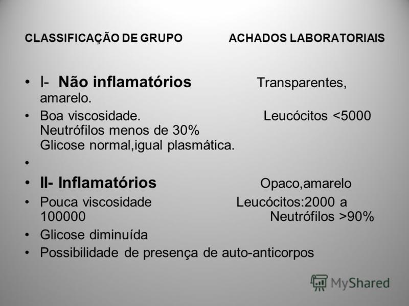 CLASSIFICAÇÃO DE GRUPO ACHADOS LABORATORIAIS I- Não inflamatórios Transparentes, amarelo. Boa viscosidade. Leucócitos <5000 Neutrófilos menos de 30% Glicose normal,igual plasmática. II- Inflamatórios Opaco,amarelo Pouca viscosidade Leucócitos:2000 a