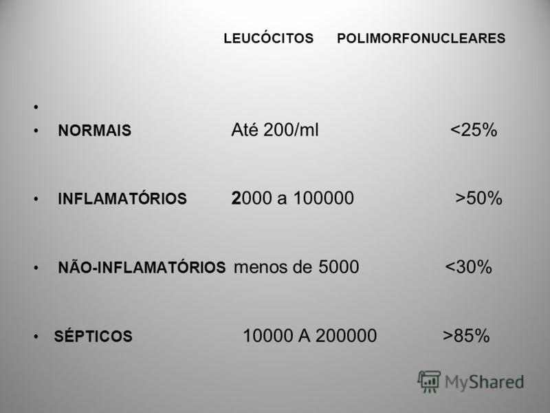 LEUCÓCITOS POLIMORFONUCLEARES NORMAIS Até 200/ml <25% INFLAMATÓRIOS 2000 a 100000 >50% NÃO-INFLAMATÓRIOS menos de 5000 <30% SÉPTICOS 10000 A 200000 >85%