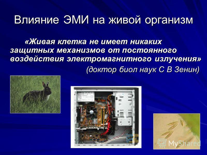 Влияние ЭМИ на живой организм «Живая клетка не имеет никаких защитных механизмов от постоянного воздействия электромагнитного излучения» «Живая клетка не имеет никаких защитных механизмов от постоянного воздействия электромагнитного излучения» (докто