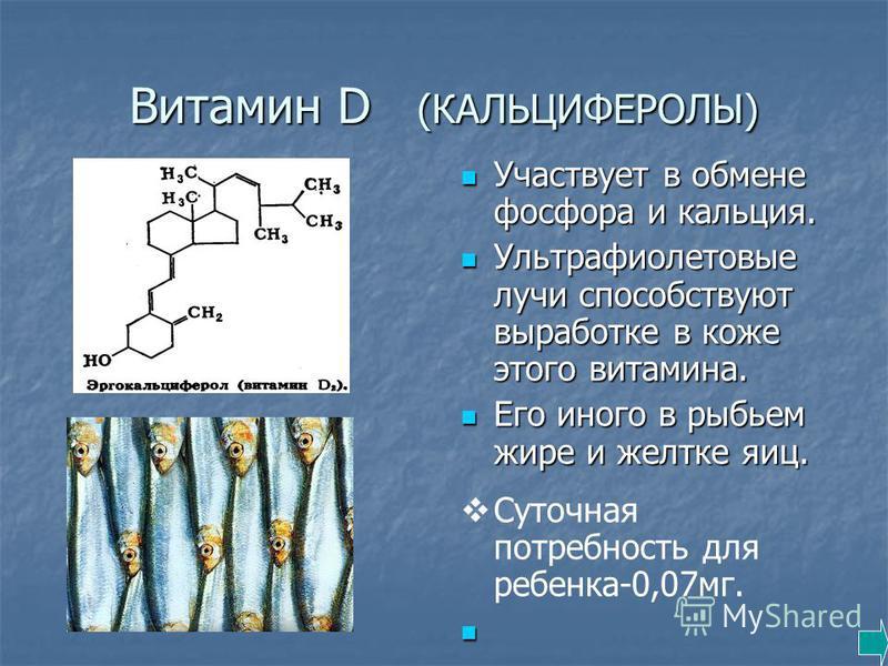 Витамин D (КАЛЬЦИФЕРОЛЫ) Участвует в обмене фосфора и кальция. Участвует в обмене фосфора и кальция. Ультрафиолетовые лучи способствуют выработке в коже этого витамина. Ультрафиолетовые лучи способствуют выработке в коже этого витамина. Его иного в р
