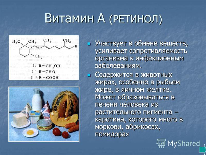 Витамин А (РЕТИНОЛ) Участвует в обмене веществ, усиливает сопротивляемость организма к инфекционным заболеваниям. Участвует в обмене веществ, усиливает сопротивляемость организма к инфекционным заболеваниям. Содержится в животных жирах, особенно в ры