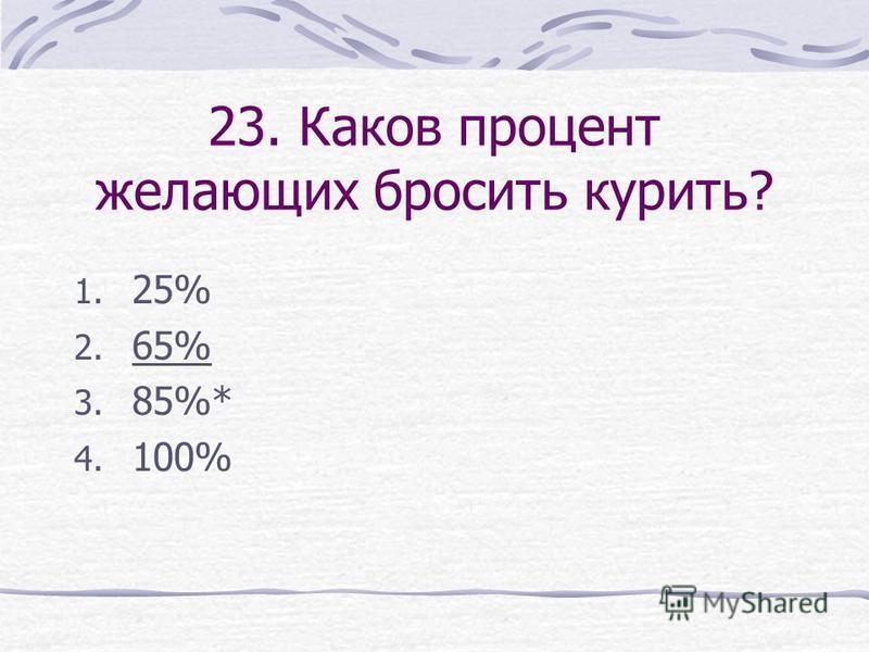23. Каков процент желающих бросить курить? 1. 25% 2. 65% 3. 85%* 4. 100%