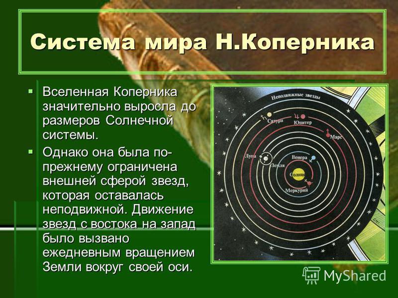 Вселенная Коперника значительно выросла до размеров Солнечной системы. Однако она была по- прежнему ограничена внешней сферой звезд, которая оставалась неподвижной. Движение звезд с востока на запад было вызвано ежедневным вращением Земли вокруг свое