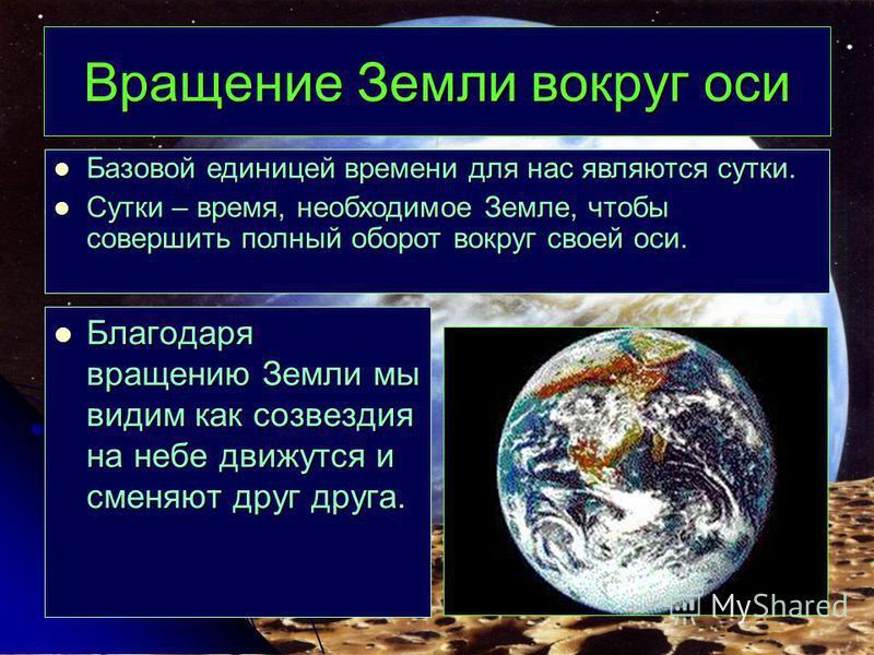 Вращение Земли вокруг оси Благодаря вращению Земли мы видим как созвездия на небе движутся и сменяют друг друга. Благодаря вращению Земли мы видим как созвездия на небе движутся и сменяют друг друга. Базовой единицей времени для нас являются сутки. Б