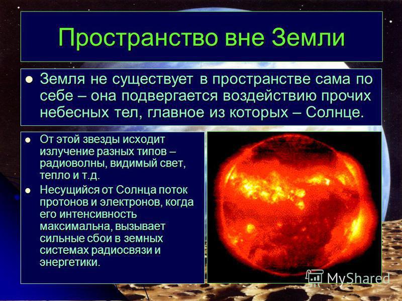 Пространство вне Земли От этой звезды исходит излучение разных типов – радиоволны, видимый свет, тепло и т.д. От этой звезды исходит излучение разных типов – радиоволны, видимый свет, тепло и т.д. Несущийся от Солнца поток протонов и электронов, когд