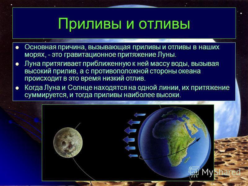 Приливы и отливы Основная причина, вызывающая приливы и отливы в наших морях, - это гравитационное притяжение Луны. Основная причина, вызывающая приливы и отливы в наших морях, - это гравитационное притяжение Луны. Луна притягивает приближенную к ней