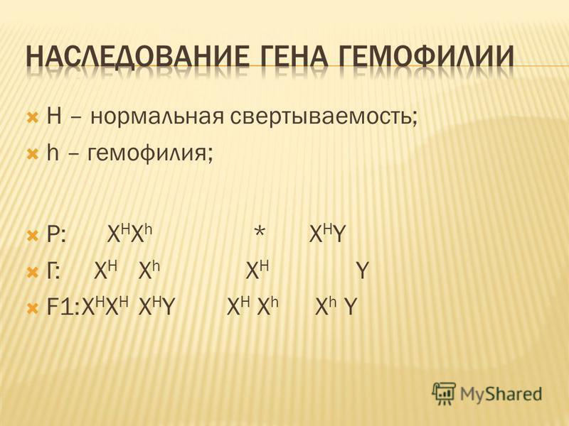 H – нормальная свертываемость; h – гемофилия; Р: X H X h *X H Y Г: X H X h X H Y F1:X H X H X H Y X H X h X h Y