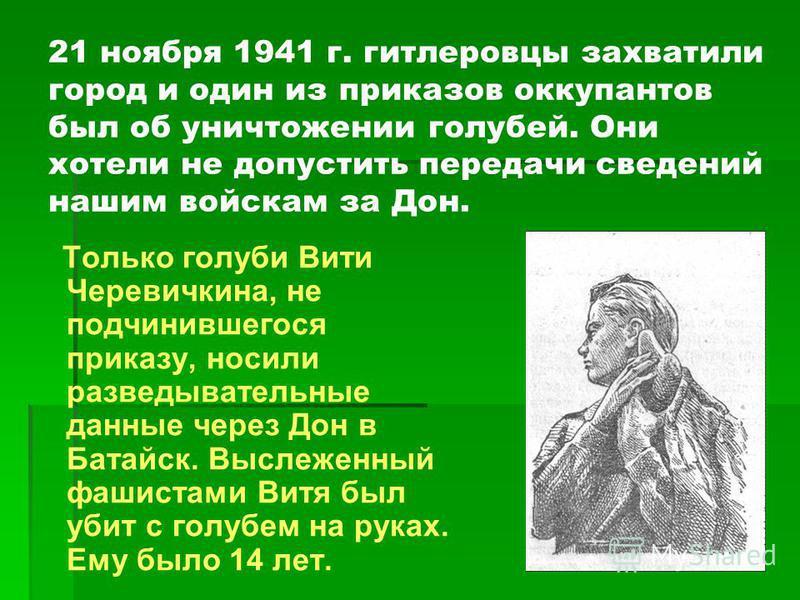 21 ноября 1941 г. гитлеровцы захватили город и один из приказов оккупантов был об уничтожении голубей. Они хотели не допустить передачи сведений нашим войскам за Дон. Только голуби Вити Черевичкина, не подчинившегося приказу, носили разведывательные