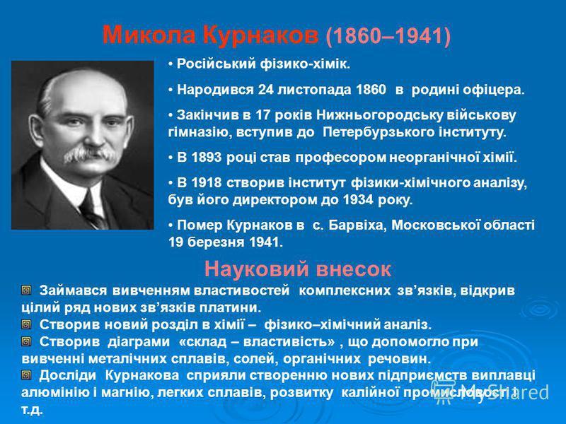 Микола Курнаков (1860–1941) Російський фізико-хімік. Народився 24 листопада 1860 в родині офіцера. Закінчив в 17 років Нижньогородську військову гімназію, вступив до Петербурзького інституту. В 1893 році став професором неорганічної хімії. В 1918 ств