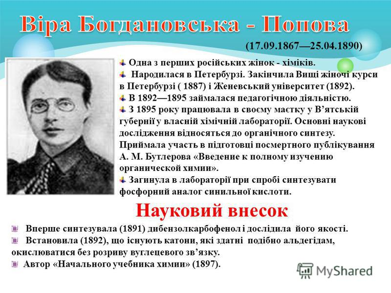 (17.09.186725.04.1890) Одна з перших російських жінок - хіміків. Народилася в Петербурзі. Закінчила Вищі жіночі курси в Петербурзі ( 1887) і Женевський університет (1892). В 18921895 займалася педагогічною діяльністю. З 1895 року працювала в своєму м