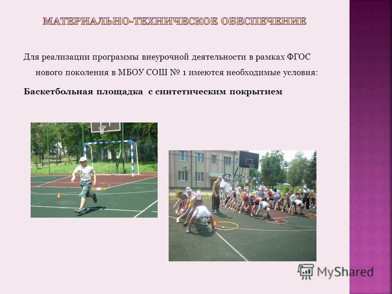 Для реализации программы внеурочной деятельности в рамках ФГОС нового поколения в МБОУ СОШ 1 имеются необходимые условия: Баскетбольная площадка с синтетическим покрытием
