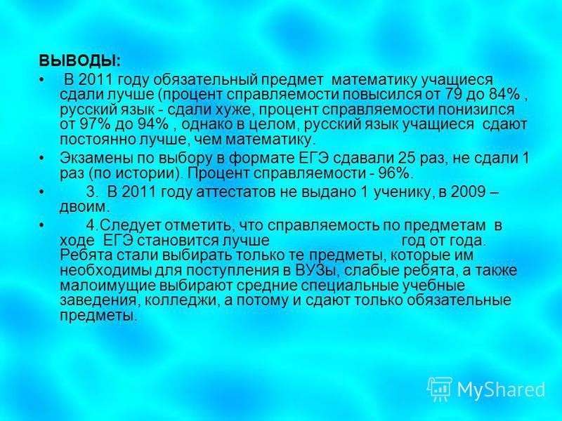 ВЫВОДЫ: В 2011 году обязательный предмет математику учащиеся сдали лучше (процент управляемости повысился от 79 до 84%, русский язык - сдали хуже, процент управляемости понизился от 97% до 94%, однако в целом, русский язык учащиеся сдают постоянно лу