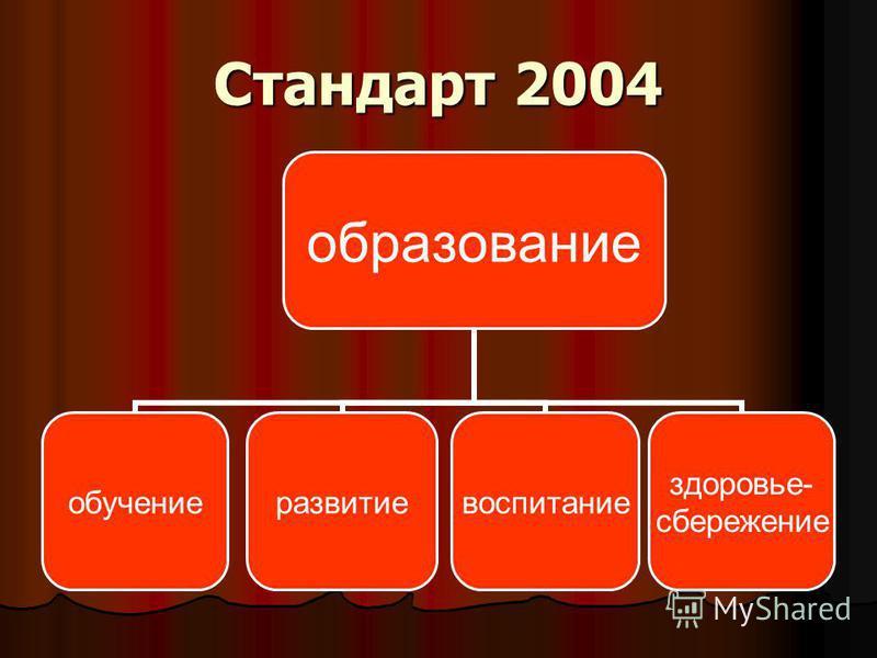 Стандарт 2004 образование обучение развитие воспитание здоровье- сбережение