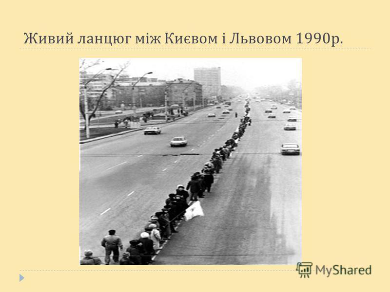 Живий ланцюг між Києвом і Львовом 1990 р.