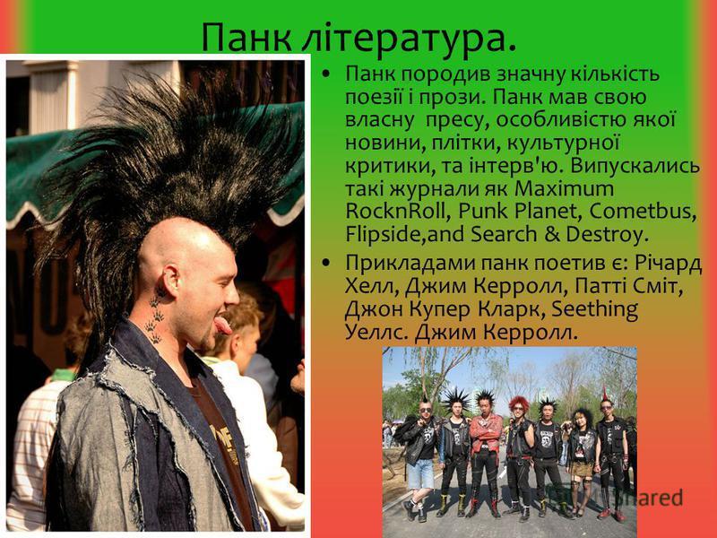 Панк література. Панк породив значну кількість поезії і прози. Панк мав свою власну пресу, особливістю якої новини, плітки, культурної критики, та інтерв'ю. Випускались такі журнали як Maximum RocknRoll, Punk Planet, Cometbus, Flipside,and Search & D