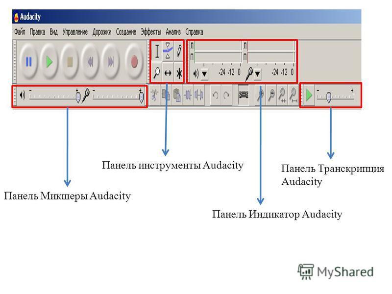 Панель Микшеры Audacity Панель инструменты Audacity Панель Индикатор Audacity Панель Транскрипция Audacity