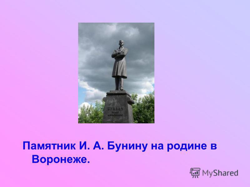 Памятник И. А. Бунину на родине в Воронеже.