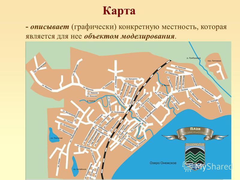 Карта - описывает (графически) конкретную местность, которая является для нее объектом моделирования.