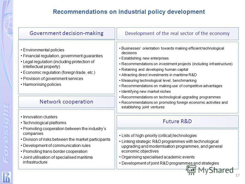 Lists of high-priority (critical) technologies Linking strategic R&D programmes with technological upgrading and modernisation programmes, and general economic objectives Organising specialised academic events Development of joint R&D programmes and