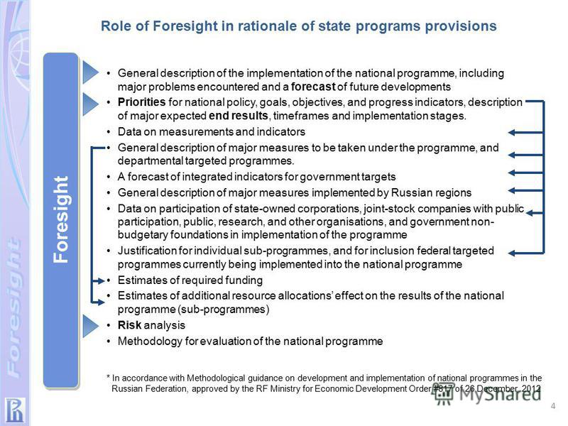 * In accordance with Methodological guidance on development and implementation of national programmes in the Russian Federation, approved by the RF Ministry for Economic Development Order #817 of 26 December, 2012 Foresight General description of the