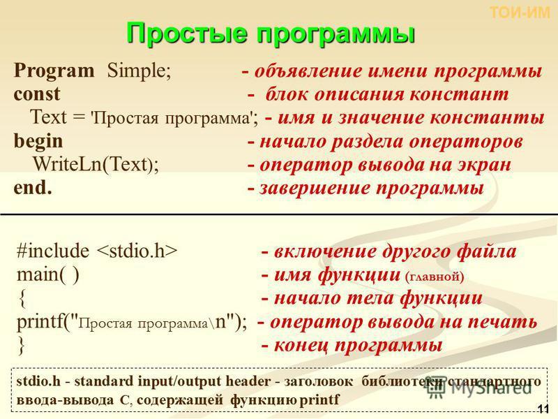 Простыепрограммы Простые программы stdio.h - standard input/output header - заголовок библиотеки стандартного ввода-вывода С, содержащей функцию printf Program Simple; - объявление имени программы const - блок описания констант Text = 'Простая програ