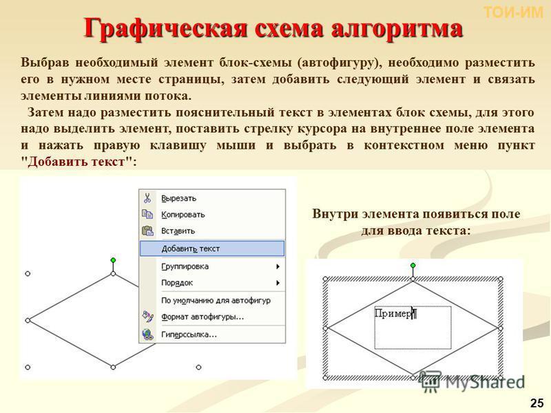 Графическая схема алгоритма Выбрав необходимый элемент блок-схемы (автофигуру), необходимо разместить его в нужном месте страницы, затем добавить следующий элемент и связать элементы линиями потока. Затем надо разместить пояснительный текст в элемент