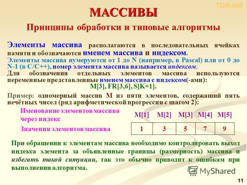 МАССИВЫ 11 Принципы обработки и типовые алгоритмы Элементы массива располагаются в последовательных ячейках памяти и обозначаются именем массива и индексом. Элементы массива нумеруются от 1 до N (например, в Pascal) или от 0 до N-1 (в С/С++), номер э