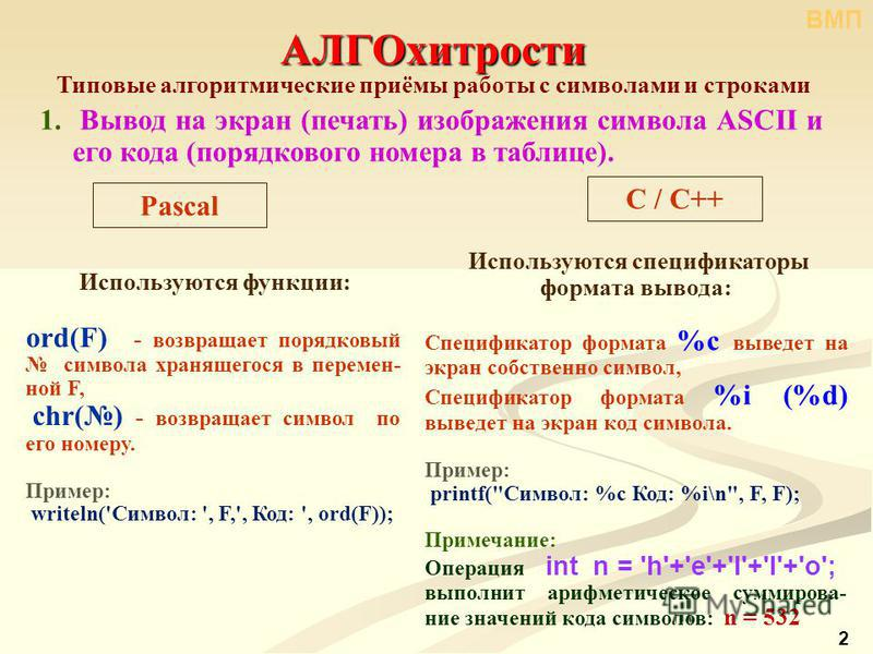 2 АЛГОхитрости Типовые алгоритмические приёмы работы с символами и строками 1. Вывод на экран (печать) изображения символа ASCII и его кода (порядкового номера в таблице). C / С++ Pascal Используются функции: ord(F) - возвращает порядковый символа хр