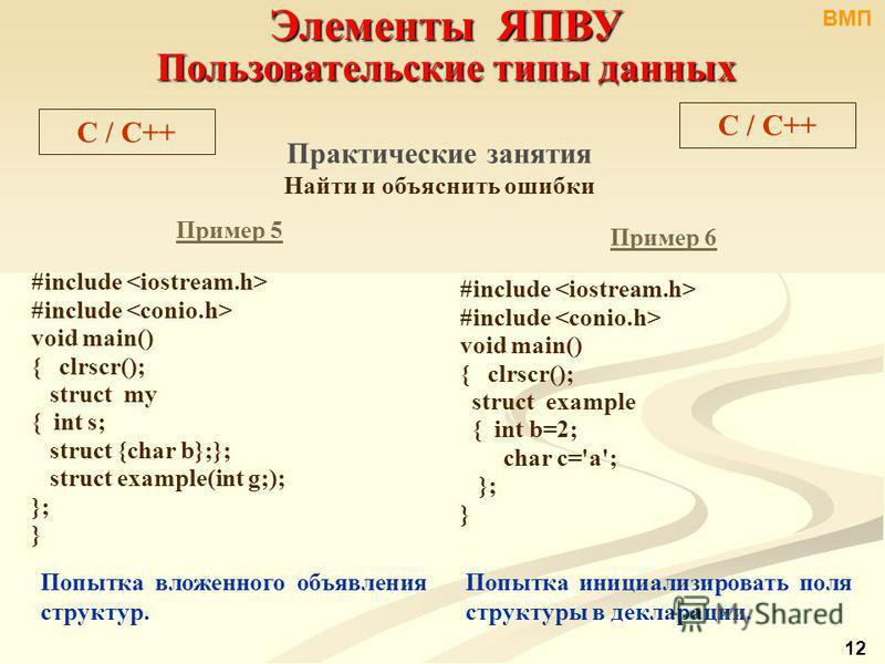 Элементы ЯПВУ Пользовательские типы данных C / С++ Практические занятия Найти и объяснить ошибки Пример 5 #include void main() { clrscr(); struct my { int s; struct {char b};}; struct example(int g;); }; } Пример 6 #include void main() { clrscr(); st