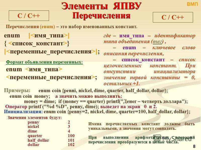C / С++ Элементы ЯПВУ Перечисления Перечисления (enum) – это набор именованных констант. enum [ ] { } [ ]; где – имя_типа – идентификатор типа объединения (тег),тег – enum – ключевое слово описания перечисления, – список_констант – список целочисленн