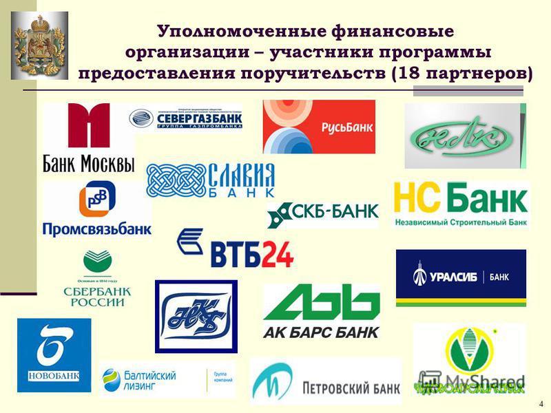Уполномоченные финансовые организации – участники программы предоставления поручительств (18 партнеров) 4