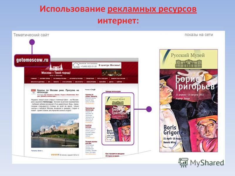 Использование рекламных ресурсов интернет: