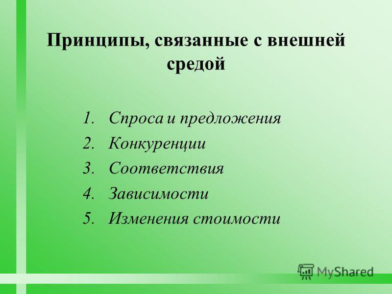 30 Принципы, связанные с внешней средой 1. Спроса и предложения 2. Конкуренции 3. Соответствия 4. Зависимости 5. Изменения стоимости