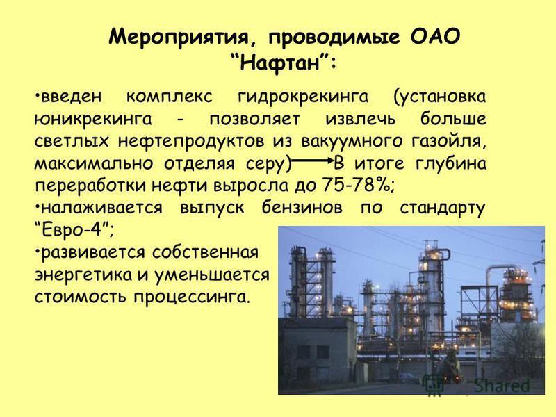 Мероприятия, проводимые ОАО Нафтан: введен комплекс гидрокрекинга (установка юникрекинга - позволяет извлечь больше светлых нефтепродуктов из вакуумного газойля, максимально отделяя серу) В итоге глубина переработки нефти выросла до 75-78%; налаживае