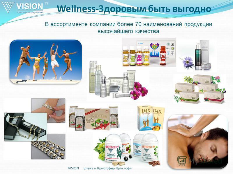 Wellness-Здоровым быть выгодно VISION Елена и Кристофер Кристофи В ассортименте компании более 70 наименований продукции высочайшего качества