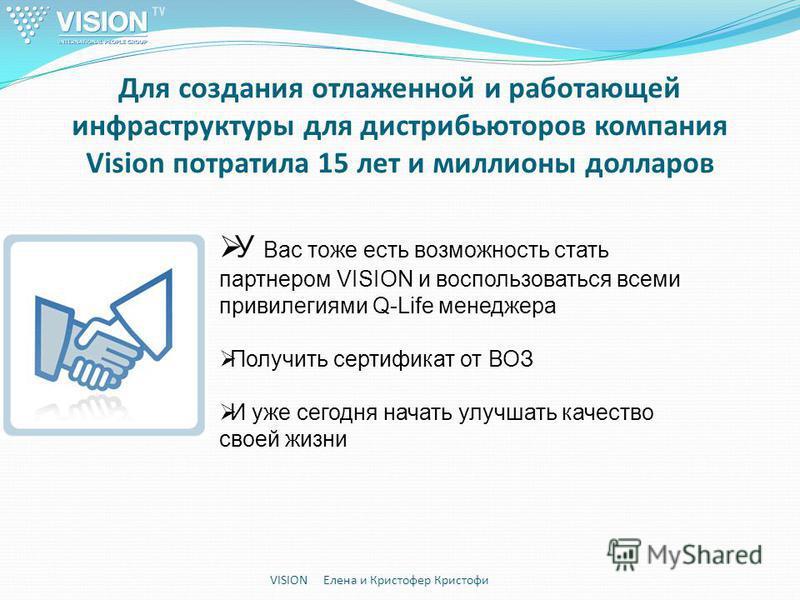 Для создания отлаженной и работающей инфраструктуры для дистрибьюторов компания Vision потратила 15 лет и миллионы долларов VISION Елена и Кристофер Кристофи У Вас тоже есть возможность стать партнером VISION и воспользоваться всеми привилегиями Q-Li