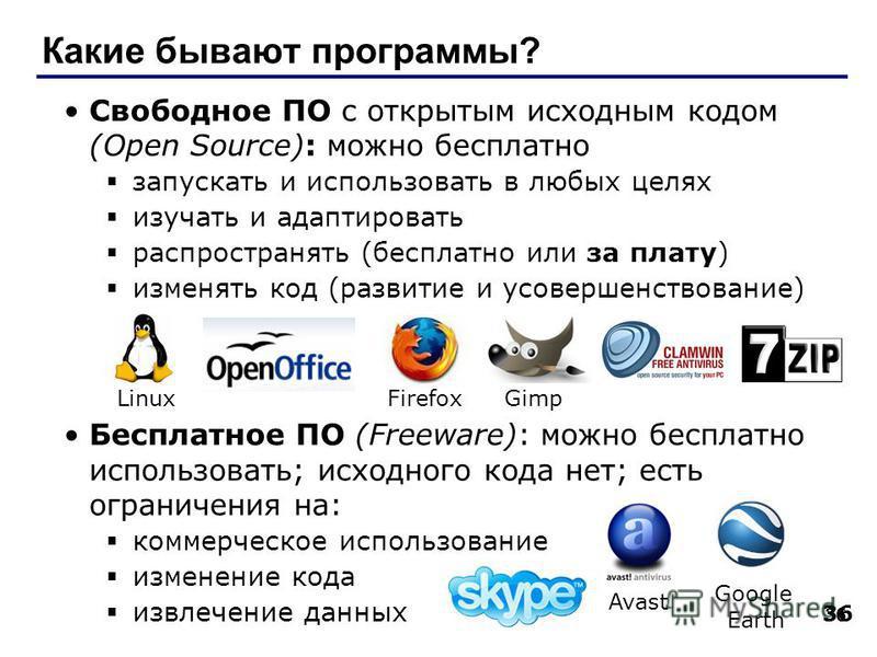 36 Какие бывают программы? Свободное ПО с открытым исходным кодом (Open Source): можно бесплатно запускать и использовать в любых целях изучать и адаптировать распространять (бесплатно или за плату) изменять код (развитие и усовершенствование) Беспла