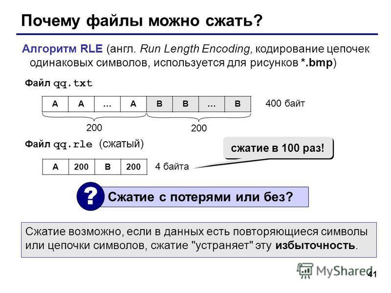 41 Почему файлы можно сжать? Алгоритм RLE (англ. Run Length Encoding, кодирование цепочек одинаковых символов, используется для рисунков *.bmp) AA…ABB…B 200 400 байт Файл qq.txt Файл qq.rle (сжатый) A200B 4 байта Сжатие с потерями или без? ? сжатие в