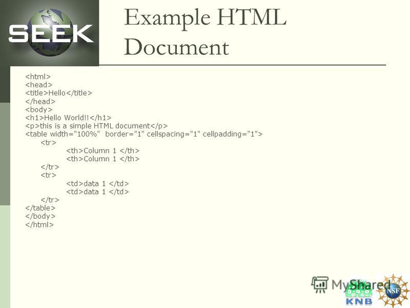 Example HTML Document Hello Hello World!! this is a simple HTML document Column 1 data 1