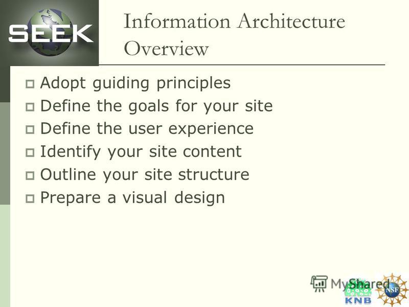 Information Architecture Overview Adopt guiding principles Define the goals for your site Define the user experience Identify your site content Outline your site structure Prepare a visual design