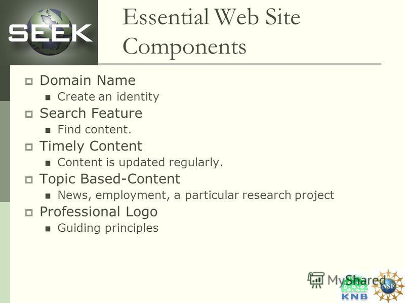 Essential Web Site Components Domain Name Create an identity Search Feature Find content. Timely Content Content is updated regularly. Topic Based-Content News, employment, a particular research project Professional Logo Guiding principles