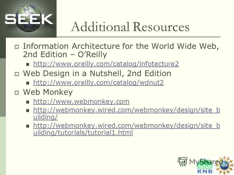 Additional Resources Information Architecture for the World Wide Web, 2nd Edition – OReilly http://www.oreilly.com/catalog/infotecture2 Web Design in a Nutshell, 2nd Edition http://www.oreilly.com/catalog/wdnut2 Web Monkey http://www.webmonkey.com ht