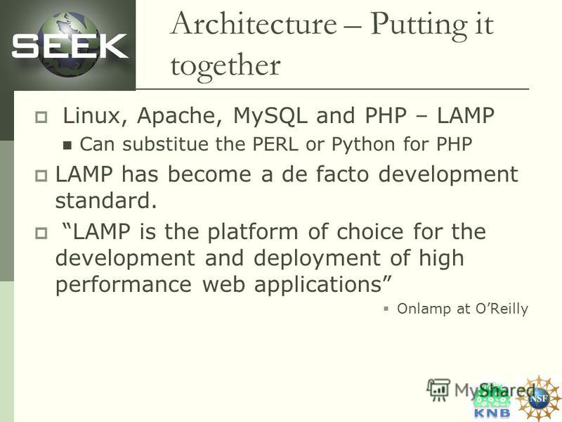 Architecture – Putting it together Linux, Apache, MySQL and PHP – LAMP Can substitue the PERL or Python for PHP LAMP has become a de facto development standard. LAMP is the platform of choice for the development and deployment of high performance web