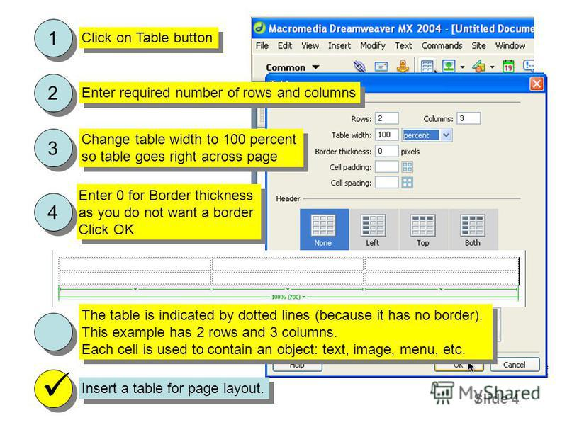 Slide 4 Insert a table for page layout. Enter 0 for Border thickness as you do not want a border Click OK Enter 0 for Border thickness as you do not want a border Click OK 4 4 Enter required number of rows and columns 2 2 Click on Table button 1 1 Ch
