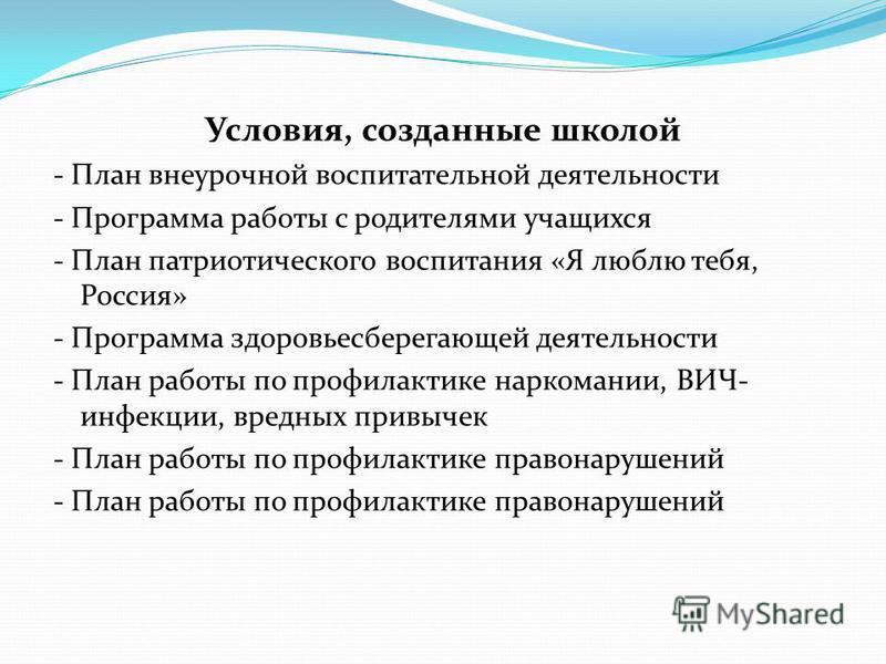 Условия, созданные школой - План внеурочной воспитательной деятельности - Программа работы с родителями учащихся - План патриотического воспитания «Я люблю тебя, Россия» - Программа здоровьесберегающей деятельности - План работы по профилактике нарко